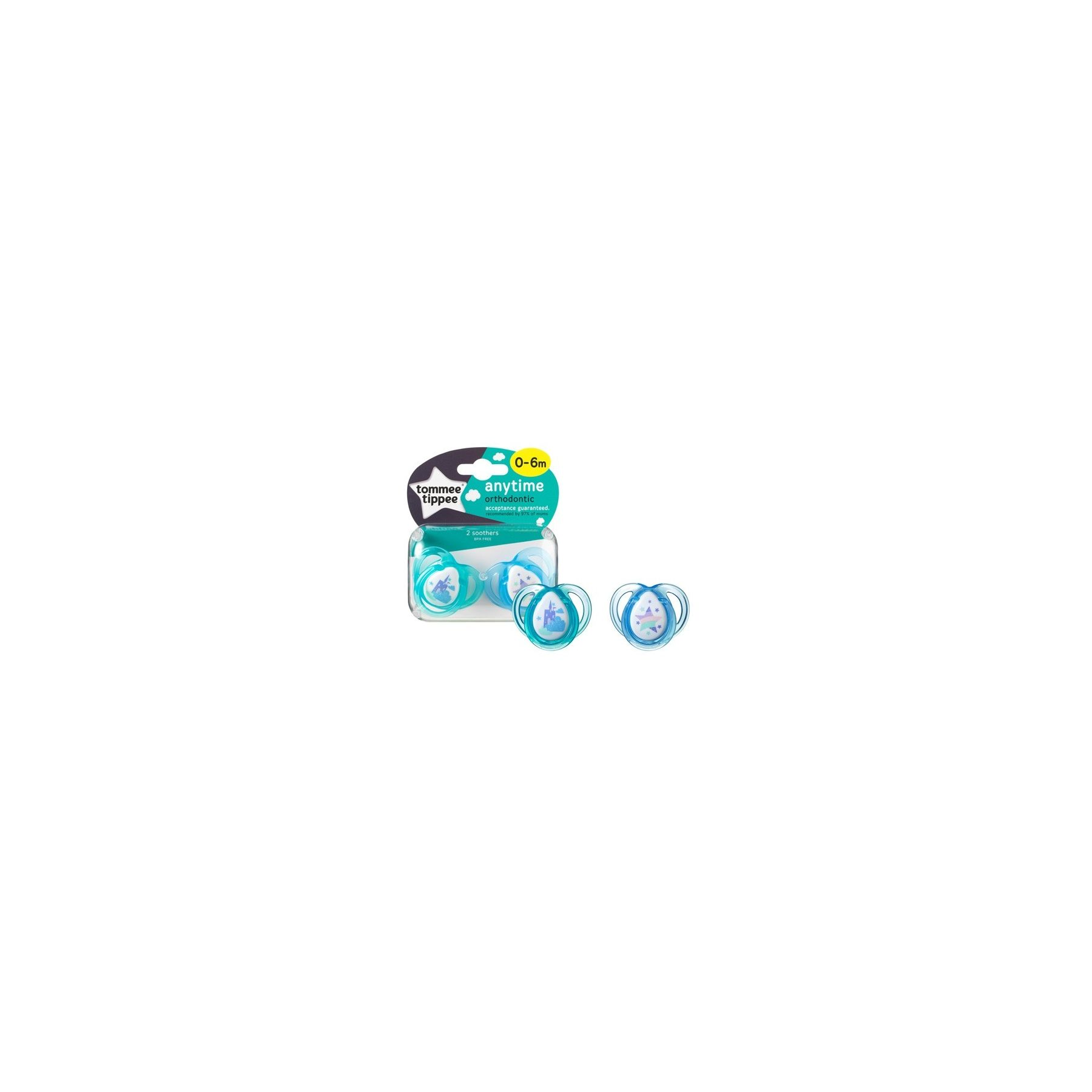 Sucettes classiques Any Time 0-6 mois Bleu / Vert Tommee Tippee