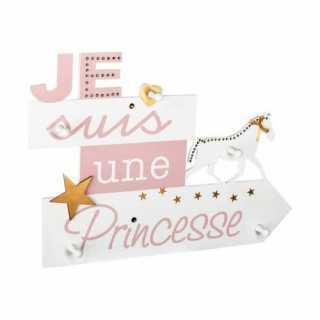 Patère avec 5 Crochets - Je suis une princesse Rose