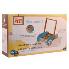 Chariot de marche + Jeu de construction en bois 40 blocs BeToys