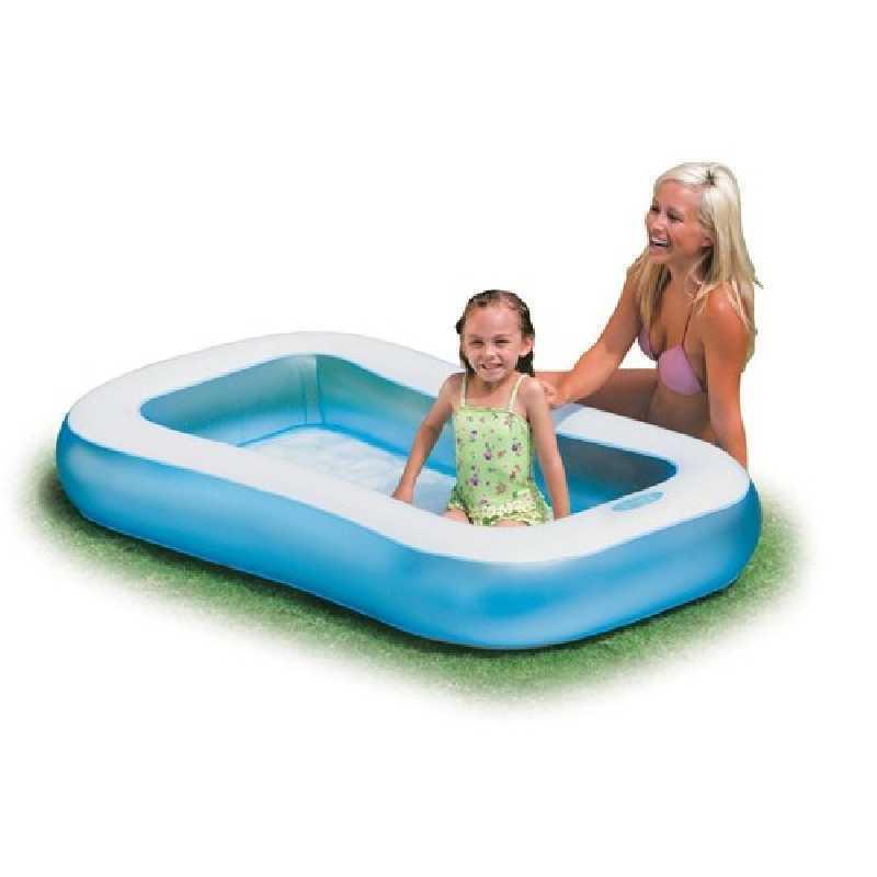 Pataugeoire piscine rectangulaire - Blanc et Bleu Intex