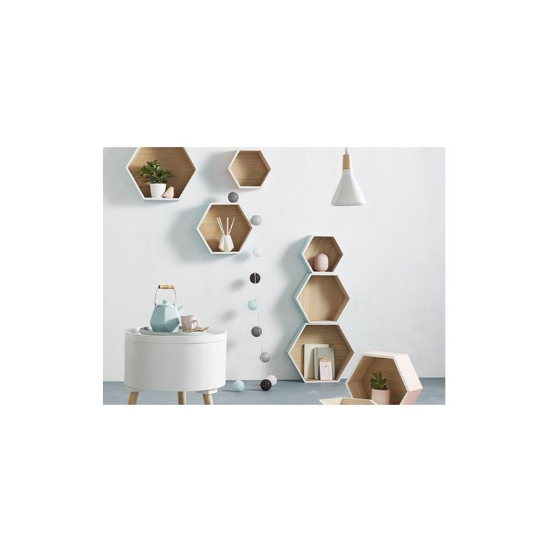 Lot de 3 étagères murales hexagonales Lovely Bleu