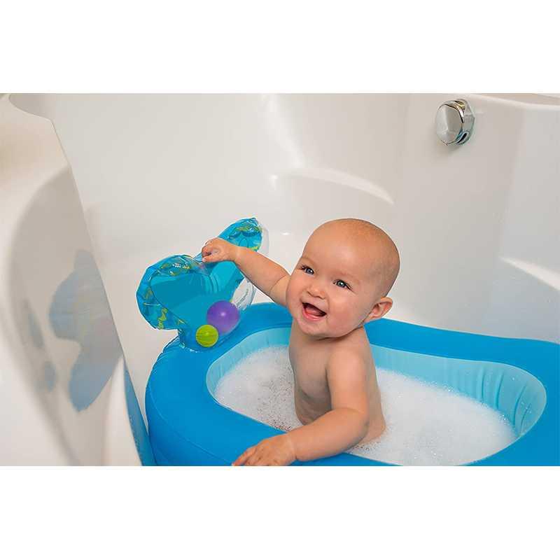 Baignoire gonflable baleine Bleu avec 10 jolies balles Infantino