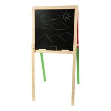Tableau en bois double face avec craies et feutres Pom des Bois