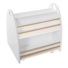 Bibliotheque basse sur roulettes avec 2 sides Blanc et Dore