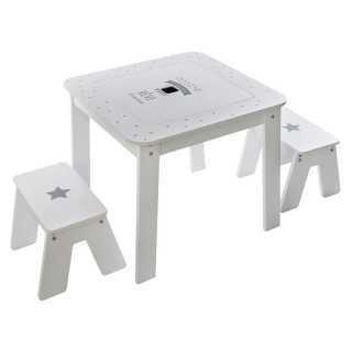 Table blanche pour garçon avec 2 tabourets Atmosphera