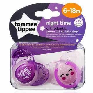 Lot de 2 sucettes nuit Violet 6-18 mois Tommee Tippee