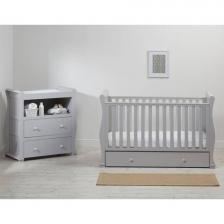 Lit de bébé traîneau avec 2 tiroirs Gris Alaska East Coast Nursery