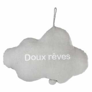 Coussin musical Nuage brodé gris Atmosphera
