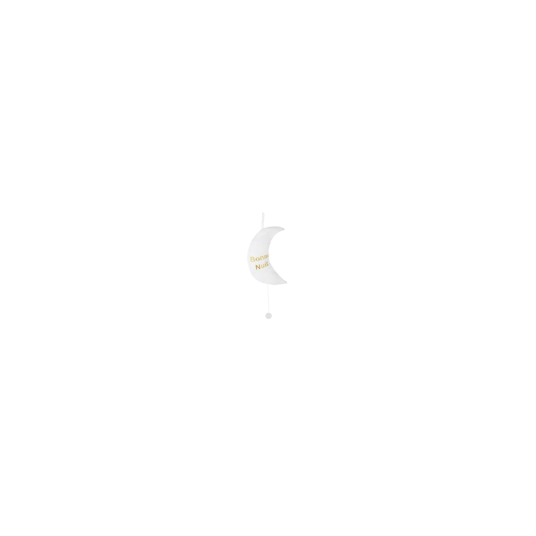 Coussin musical Lune brodé Blanc Atmosphera