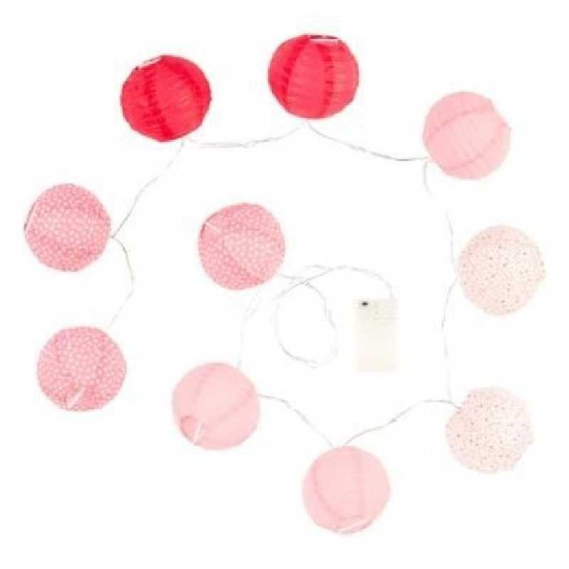 Guirlande lumineuse 10 boules LED Fuchsia Atmosphera
