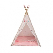 Tipi décoratif fille avec tapis Rose The Home Deco factory