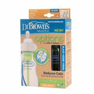 Lot de 2 biberons en verre 270 ml Options Dr Brown's